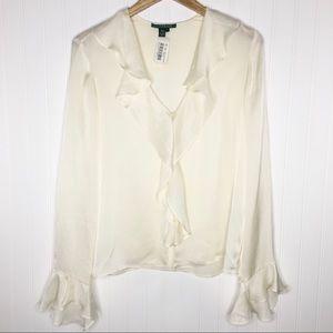 Lauren Ralph Lauren 100% Silk Ruffle Blouse 12